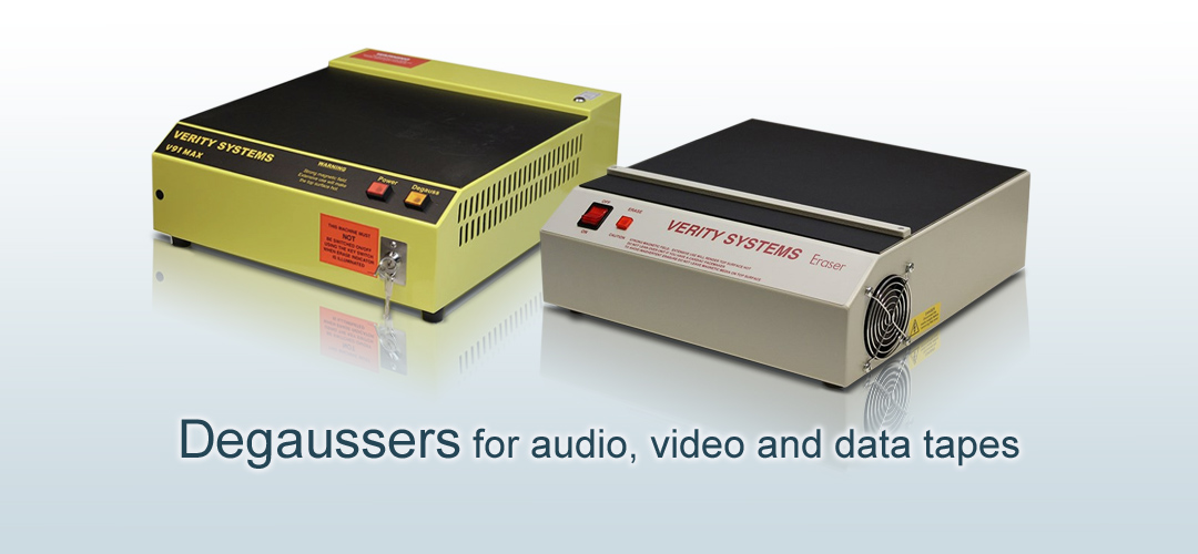 Degaussers for audio video data tapes